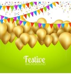 festive card golden balloons and confetti vector image vector image
