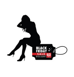 girl silhouette sitting on black friday vector image vector image