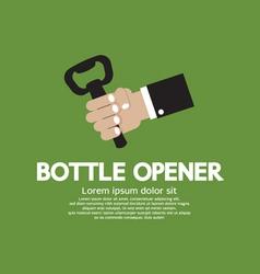 Hand holding a bottle opener vector