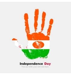 Handprint with the flag of niger in grunge style vector
