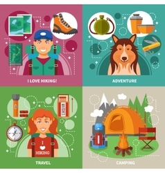 Hiking 2x2 design concept vector