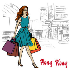 hong kong street vector image vector image