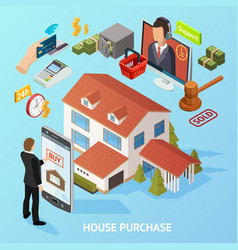 Isometric home purchase background vector
