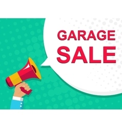 Megaphone with GARAGE SALE announcement Flat vector image