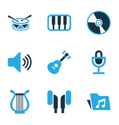 Music colored icons set collection of headphone vector