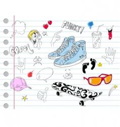 notebook doodles vector image vector image