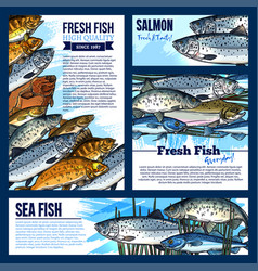 Posters or banners for fresh fish market vector