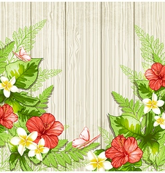 Red tropical flowers and leaves vector image
