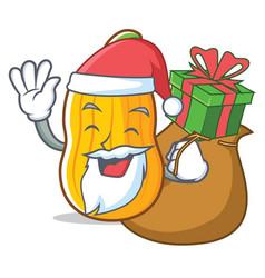 Santa with gift butternut squash mascot cartoon vector