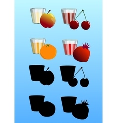 Set of fresh juices with fruits vector image