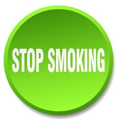 Stop smoking green round flat isolated push button vector