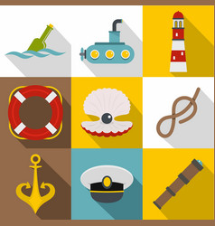 underwater search icons set flat style vector image vector image