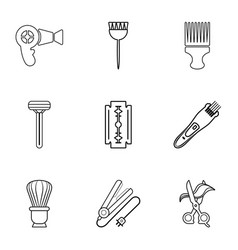 Woman hairdresser tools icons set outline style vector