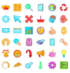 Work letter icons set cartoon style vector