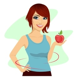 young woman holding a red apple showing thin waist vector image vector image