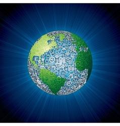 Social media icons globe vector