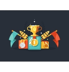 Pedestal with gold cup and medals vector