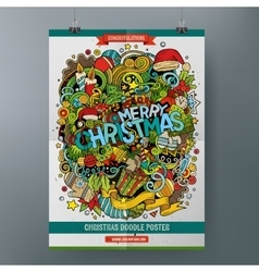 Cartoon doodles merry christmas poster vector