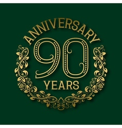 Golden emblem of ninetieth years anniversary vector