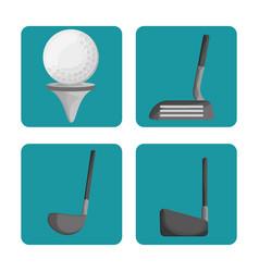 Sport golf clubs and ball set vector