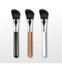 Set of black clean professional makeup angle brush vector