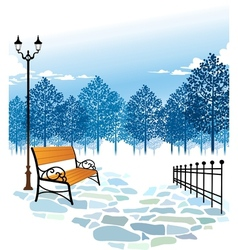 Winter park scene vector