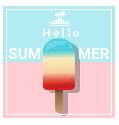 hello summer background with colorful ice cream vector image