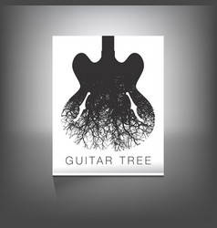 A stunning image of a guitar and tree vector