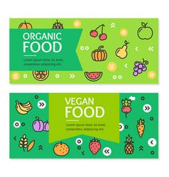 Organic vegan food flyer banner posters card set vector