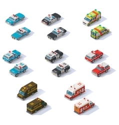 isometric emergency services cars set vector image