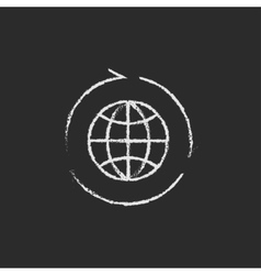 Globe with arrows icon drawn in chalk vector