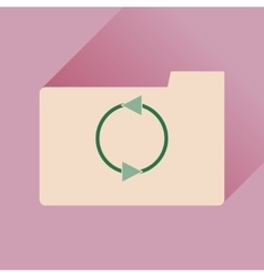 Flat icon with long shadow folder arrow vector