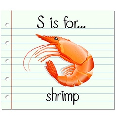 Flashcard letter s is for shrimp vector