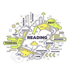 Creative of reading with open book and tag c vector