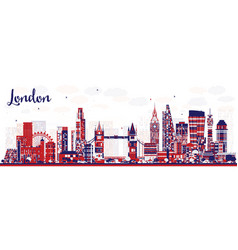 Abstract london england city skyline with color vector