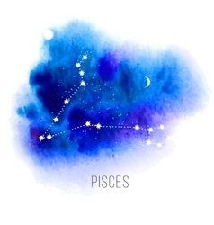 Astrology sign pisces on watercolor background vector
