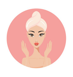 Beautiful asian woman perfect face skin beauty spa vector