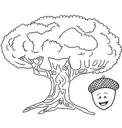 black and white oak tree vector image vector image