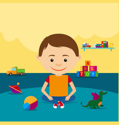 Boy sitting on floor with toys vector