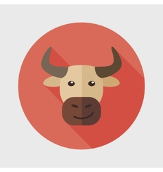 Bull flat icon with long shadow vector