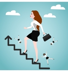 Businesswoman on stairs success concept vector
