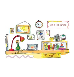 Creative place for work banner - vector