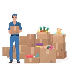 Delivery move service man holding Craft box Cargo vector image