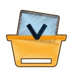 Drawing basket buying online laptop vector
