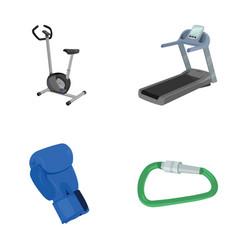 Exercise bike treadmill glove boxer lock sport vector