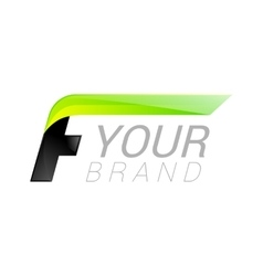 F letter black and green logo design Fast speed vector image