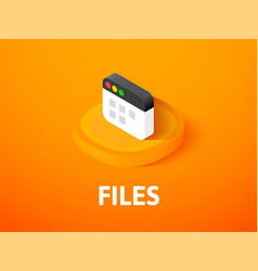 Files isometric icon isolated on color background vector