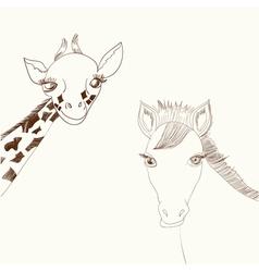 Giraffe and horse vector