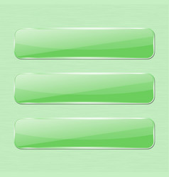 green glass button on green background vector image