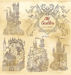 hand drawn collection with gothic castles vector image vector image